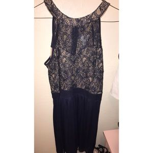 NWOT navy blue lace bib neck dress